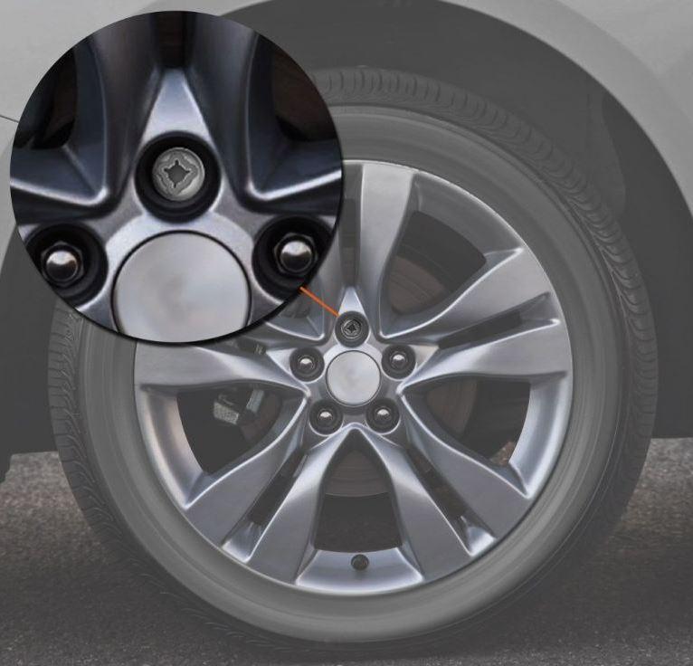 Parafuso antifurto na roda do carro