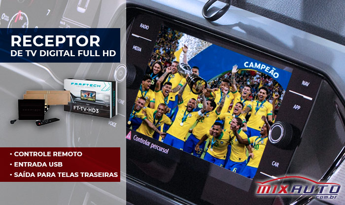 Receptor de TV Digital Full HD instalado no T-Cross na Mix Auto Center