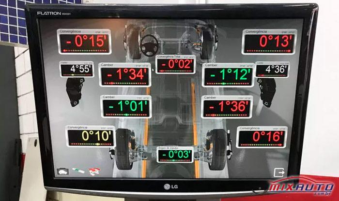 Monitor de resultados do alinhamento 3D na MixAuto Tatuapé