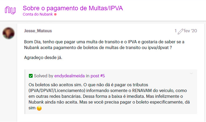 IPVA Nubank Pagamento