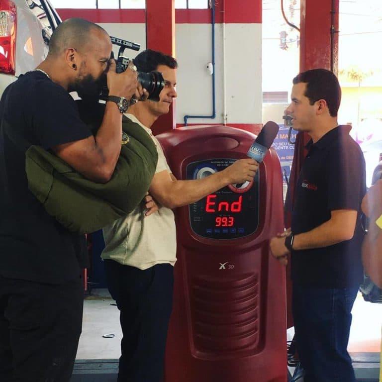 Bastidores da reportagem sobre Calibragem com Nitrogênio gravada na Mix Auto Center Ipiranga