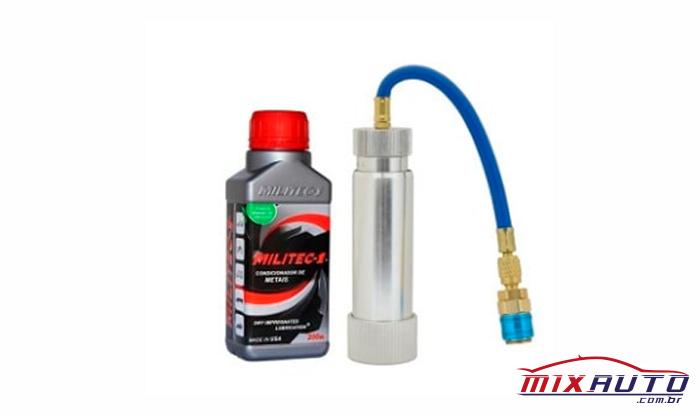 Bomba Aplicadora de Militec utilizada na Mix Auto Center, ferramenta específica para realizar a aplicação correta de Militec no ar-condicionado automotivo
