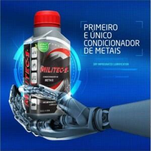 Arte promocional de embalagem do Militec segurada por braço robótico