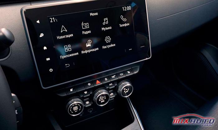 Central multimídia e painel do ar condicionado do Renault Arkana