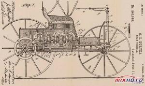 Desenho de patente para o veículo rodoviário Duryea 1895