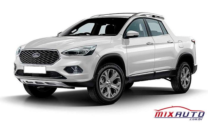 Projeção do Ford Courier 2021 da cor branco