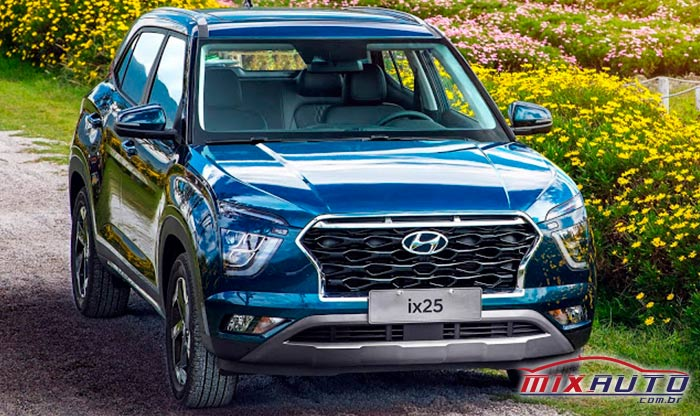 Hyundai ix25 2021 azul em estrada florida