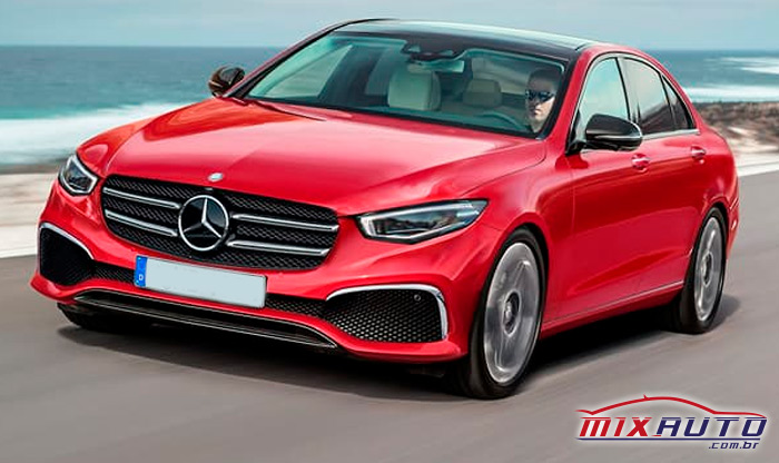 Mercedes-Benz Classe C 2021 vermelha na estrada