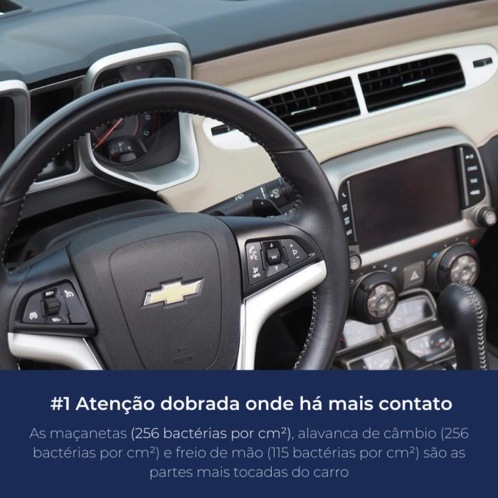 O volante, maçaneta, câmbio e freio de mão são as partes mais sujas do carro