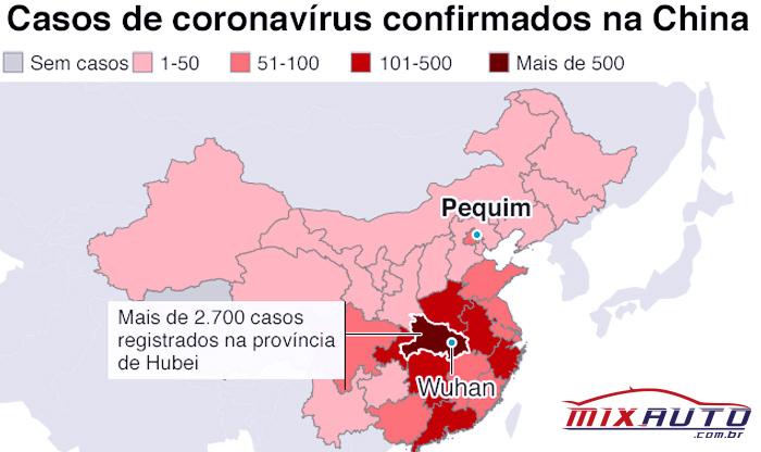 Infográfico com mapa de casos de coronavírus confirmados na China