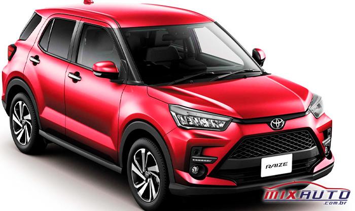 Versão japonesa do Toyota Raize vermelho