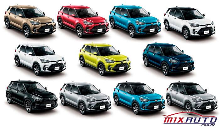 Possíveis cores do novo Toyota Raize