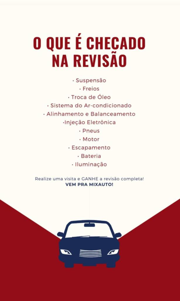Infográfico sobre itens verificados durante a revisão automotiva