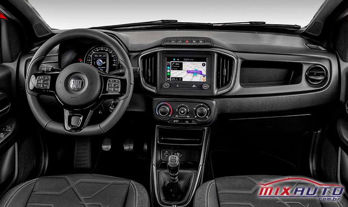 Foto do painel da nova Fiat Strada 2021