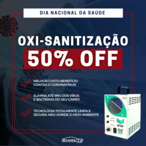 Banner promocional da Oxi-sanitização com 50% de desconto na Mix Auto Center traz imagem da máquina de ozônio e três benefícios do serviço