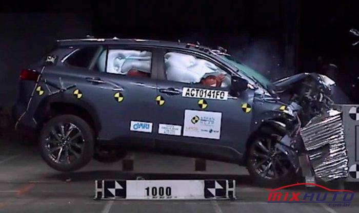 Toyota Corolla Cross 2021 batendo de frente em crash test