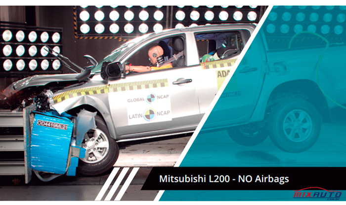 Imagem do crash test da Latin NCAP sobre a Mitsubishi L200