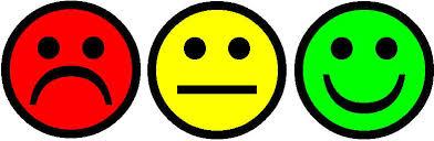 Smiles vermelho, amarelo e verde representam cores das luzes do painel