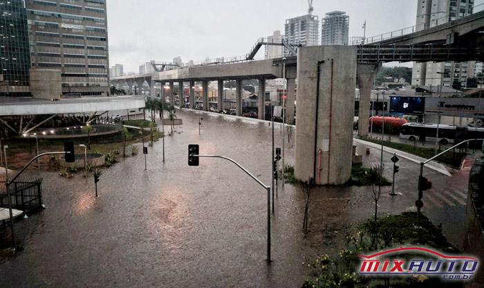 Alagamento na vila Prudente, Zona Leste de São Paulo, com ruas submersas pela água